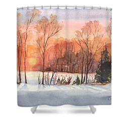 A Hedgerow Sunset Shower Curtain