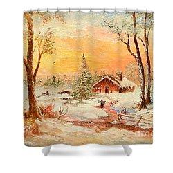 Winter Sunset Shower Curtain by Sorin Apostolescu