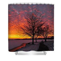 Winter Sunset Shower Curtain by Terri Gostola