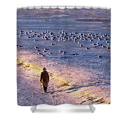 Shower Curtain featuring the photograph Winter Time At The Beach by Cynthia Guinn