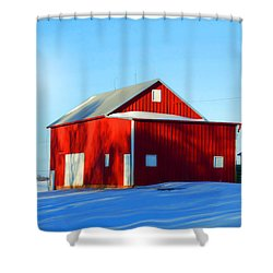 Winter Time Barn In Snow Shower Curtain by Luther Fine Art