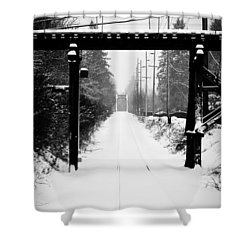 Winter Tracks Shower Curtain by Aaron Berg
