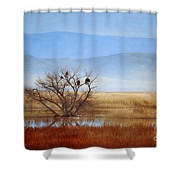 Winter Travelers Shower Curtain