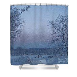 Winter Trees On West Michigan Farm At Sunrise Shower Curtain