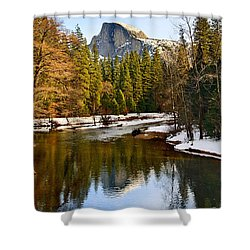 Winter View Of Half Dome In Yosemite National Park. Shower Curtain by Jamie Pham