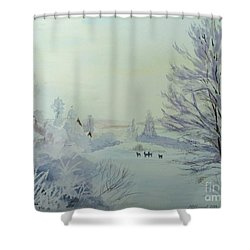 Winter Visitors Shower Curtain by Martin Howard