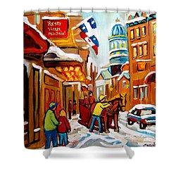 Winter Walk Montreal Shower Curtain by Carole Spandau