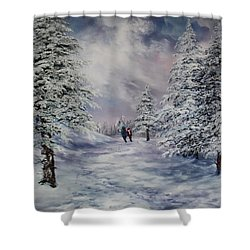 Shower Curtain featuring the painting Winter Walk On Cannock Chase by Jean Walker