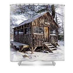 Winter Warming Hut Shower Curtain by Edward Fielding