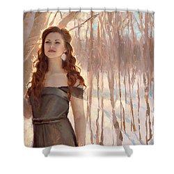 Winter Warmth - Figure In The Landscape Shower Curtain by Karen Whitworth