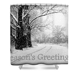 Winter White Season's Greeting Card Shower Curtain by Carol Groenen