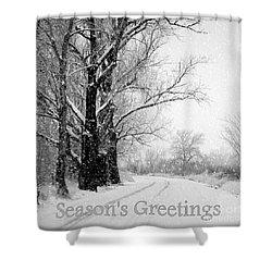 Winter White Season's Greetings Shower Curtain by Carol Groenen