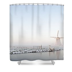 Winter Windmill Landscape In Holland Shower Curtain