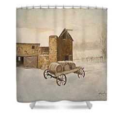 Shower Curtain featuring the painting Winter Wine by Alan Lakin
