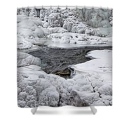 Shower Curtain featuring the photograph Vermillion Falls Winter Wonderland by Patti Deters