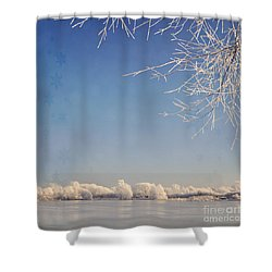 Winter Wonderland With Snowflakes Decoration. Shower Curtain by Lyn Randle