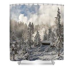 Winter Wonderland - Yellowstone National Park Shower Curtain by Sandra Bronstein