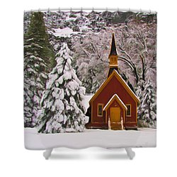 Winter Yosemite Chapel Shower Curtain by Heidi Smith
