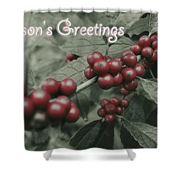 Shower Curtain featuring the photograph Winterberry Greetings by Photographic Arts And Design Studio