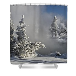 Winter's Glory - Yellowstone National Park Shower Curtain by Sandra Bronstein