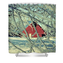 Our Frosty Barn Shower Curtain