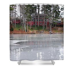 Wintery Reflection Shower Curtain by Frozen in Time Fine Art Photography