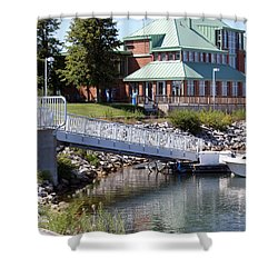Shower Curtain featuring the photograph Winthrop Harbor Shore by Debbie Hart