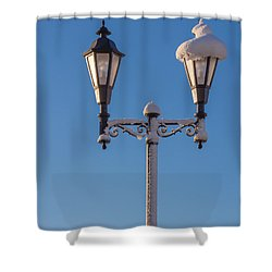 Wintry Lamp Post Shower Curtain