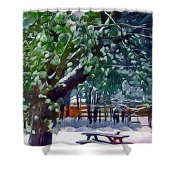 Wintry  Snowy Trees Shower Curtain by Lanjee Chee