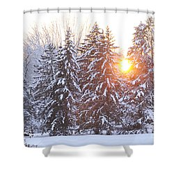 Wintry Sunset Shower Curtain