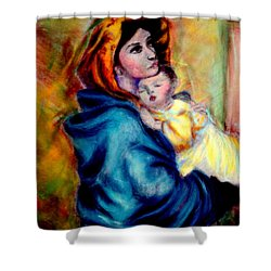Mondonna Of The Street By Roberto Ferrizzi, Rendition In Pastel Antonia Citrino,  Sold.        Shower Curtain