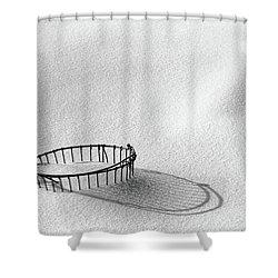 Wire Basket In Snow Shower Curtain