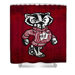 Wisconsin Badgers College Sports Team Retro Vintage Recycled License Plate Art Shower Curtain