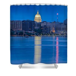 Shower Curtain featuring the photograph Wisconsin Capitol Reflection by Sebastian Musial