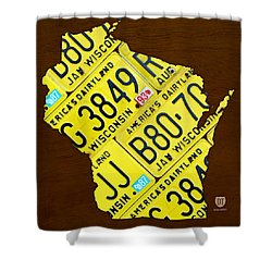 Wisconsin License Plate Map By Design Turnpike Shower Curtain by Design Turnpike