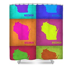 Wisconsin Pop Art Map 2 Shower Curtain by Naxart Studio
