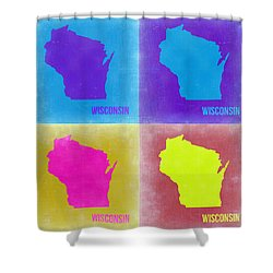 Wisconsin Pop Art Map 3 Shower Curtain by Naxart Studio