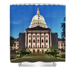 Wisconsin State Capitol Building At Night Shower Curtain