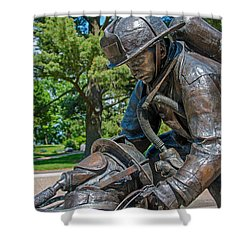 Shower Curtain featuring the photograph Wisconsin State Firefighters Memorial 4 by Susan  McMenamin