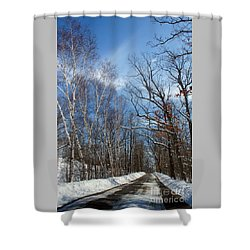 Shower Curtain featuring the photograph Wisconsin Winter Road by PJ Boylan