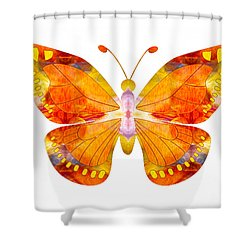 Shower Curtain featuring the digital art Wisdom And Flight Abstract Butterfly Art By Omaste Witkowski by Omaste Witkowski