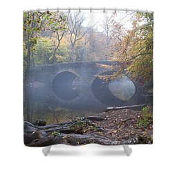 Wissahickon Creek And Bells Mill Road Bridge Shower Curtain by Bill Cannon