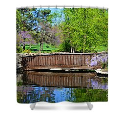 Wisteria In Bloom At Loose Park Bridge Shower Curtain