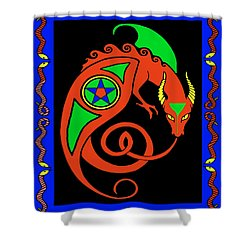 Shower Curtain featuring the digital art Witches Dragon by Vagabond Folk Art - Virginia Vivier