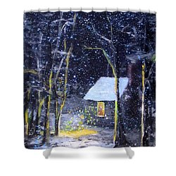 Wintery  Night At Thoreau's Cove Shower Curtain by Jack Skinner
