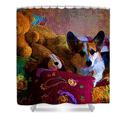 With His Friends On The Bed Shower Curtain by Mick Anderson