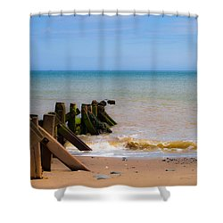 Withernsea Groynes Shower Curtain