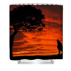 Wolf Calling For Mate Sunset Silhouette Series Shower Curtain by David Dehner