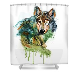 Wolf Face Watercolor Shower Curtain
