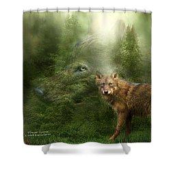 Wolf - Forest Spirit Shower Curtain by Carol Cavalaris